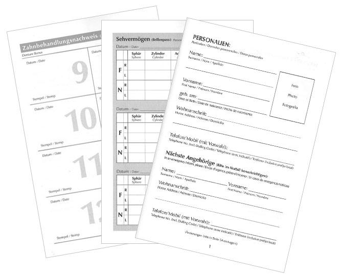 Arztbuch - Meine Gesundheit schwarz auf weiß auf Papier und für Kinder und Erwachsene gleichermaßen nutzbar.